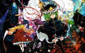 Picture water, tape, seasons, the moon, hat, petals, Sakura, ladder, green hair, art, maple leaves, scroll, …