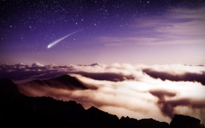 Wallpaper meteor, stars, clouds, mountains