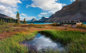 Picture mountains, the bridge, nature, canada, banff national park, trees, alberta, lake, Canada, clouds, the sky, ...