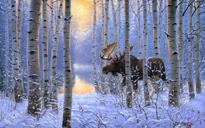 Picture winter, forest, animals, snow, painting, moose, On the Move, Derk Hansen