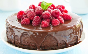 Picture berries, raspberry, chocolate, cake, cake, dessert, cakes, glaze