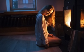 Picture Girl, Look, Fire, Light, Hair, Fireplace