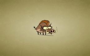 Picture animal, minimalism, fangs, boar, Mohawk, dark background, cabanag