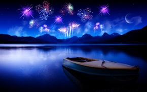 Wallpaper reflection, mountains, the moon, lake, water, night, the sky, fireworks, Boat