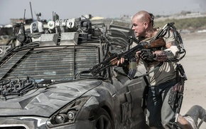 Picture car, future, gun, blood, weapon, man, tatoo, rifle, suit, armour, Max, combat, Elysium, technology, infra-red, ...