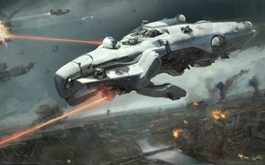 Picture rays, the city, fiction, ship, battle, lasers, Dreadnought, game wallpapers