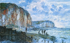 Picture people, picture, pierce, seascape, Claude Monet, The Cliff Le Petit Dahl