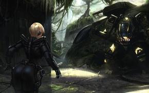 Picture ass, girl, fiction, robot, jungle, art, blonde, tank, ass, the exoskeleton, Heavy Metal