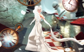 Picture girl, fantasy, watch, blur, dress, art, Nadja Baxter, Dreams:Running Late