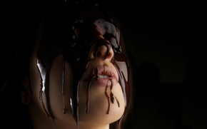 Picture Jordan Carver, chocalate, nose and lips, melted
