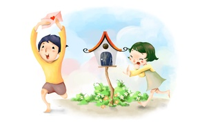 Picture clouds, flowers, figure, boy, girl, birdhouse, the envelope