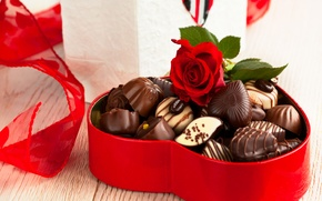Wallpaper box, gift, dessert, candy, sweet, red, rose, food, chocolate