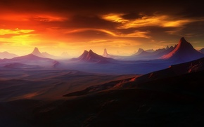 Picture sunset, mountains, planet, Outcast Horizon