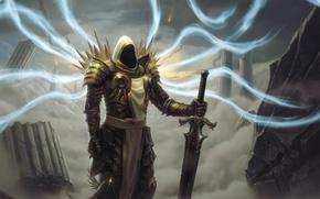 Picture sword, ruins, the Archangel, Diablo 3, tyrael, Diablo 3