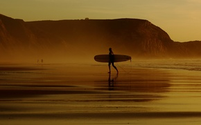 Picture waves, beach, sunset, surfer, longboard, extreme sport