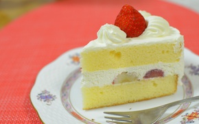 Picture strawberry, cake, cream, biscuit