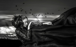 Picture girl, birds, the wind, treatment, Touch of nature
