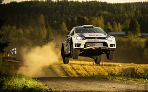 Picture Dust, Volkswagen, Jump, WRC, Rally, Rally, Finland, Polo