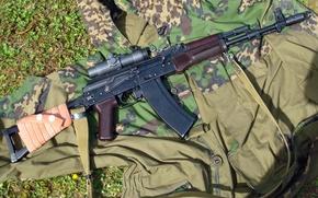 Picture camouflage, night, sight, Kalashnikov, 45 mm, АКС74Н, variants of folding AKS74