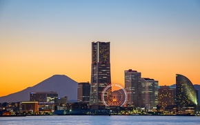 Picture Bay, Ferris wheel, bay, Yokohama, Fuji, ferris wheel