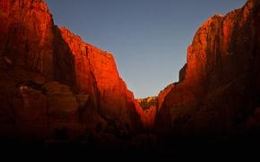 Picture mountains, rocks, glow, Utah, USA, Zion National Park, Kolob Canyon