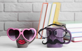 Picture cup, mug, glasses, books, coffee, funny, cute, mustache, books, glasses, lips