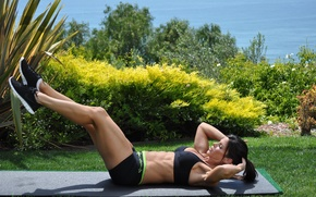 Picture abs, workout, shoes, fitness, legs, hard work, pose, outdoors, grass, brunette