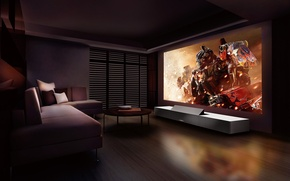 Picture room, movie, interior, transformers, projector, sony LSPX
