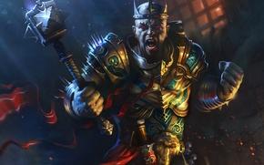 Picture monk, rage, hammer