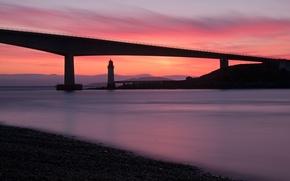 Picture bridge, shore, sea, UK, the evening, Scotland, lighthouse, calm, sunset