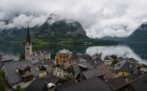 Picture forest, clouds, mountains, lake, shore, home, Austria, Hallstatt