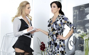 Picture girls, interior, brunette, blonde, handle, Notepad, Jelena Jensen, dialogue, Natalia Starr