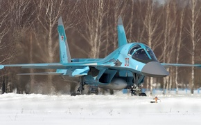 Picture snow, the airfield, bomber, Fullback, Su-34, Sukhoi, Russian fighter-bomber