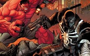 Picture city, spider, red, gun, pistol, white, black, soldier, rocks, man, venom, destroyed, flash, hulk, web, …