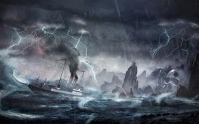 Picture wave, storm, rocks, lightning, ship, island, storm, disaster