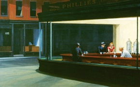Picture figure, cafe, Night owls, Edward Hopper, Nighthawks