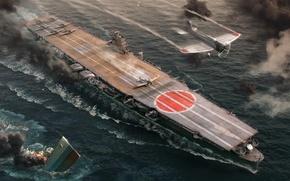 Wallpaper WoWS, World of Warships, The World Of Ships, The carrier, IJF Hiryu, Hiru, Wargaming Net