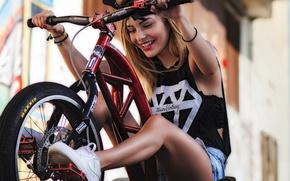 Picture girl, bike, fun