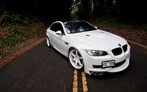 Picture road, white, markup, bmw, BMW, coupe, the hood, white, the front, e92