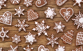 Picture food, New Year, cookies, Christmas, sweets, Christmas, figures, dessert, cakes, holidays, New Year, glaze, Christmas