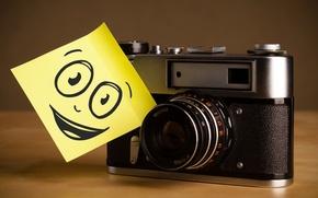 Picture macro, smile, retro, creative, positive, the camera, smile, note, camera, camera, hi-tech, bokeh, wallpaper., technology, …