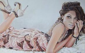 Picture lies, hands, look, painting, hair, makeup, girl, lips, heels, eyes, dress