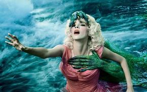 Wallpaper girl, panic, monster, woman, lake, death, fear, Lady Gaga, season 6, mist, claws, pearls, TV ...