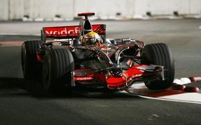 Wallpaper night, track, 2008, formula 1, pilot, formula 1, racer, Singapore, formula one, mclaren, Lewis Hamilton, ...