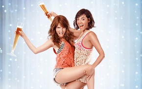 Picture joy, background, girls, wine, two, dance, brunette, glasses, hugs, brown hair, champagne, poster, grimace, smile, …