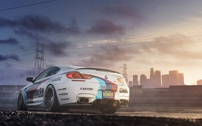 Picture white, the sky, bmw, BMW, white, back, power line, f13