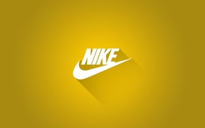 Picture Logo, Shadow, Nike, Nike, Sports brand, Yellow background