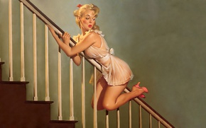 Picture the descent, negligee, blonde, ladder, railings, art, pin-up, Gil Elvgren