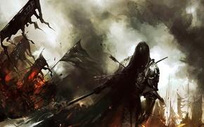 Picture battle, warrior, battlefield, halberd