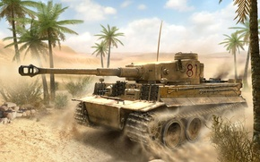 "Picture ""Tiger"", Panzerkampfwagen VI ""Tiger I"", Jadid, art, WW2, sandy, German, Morocco, figure, tank, the enemy, ..."